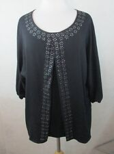 DAISY FUENTES WOMENS LARGE L PLEATED BLOUSE SHIRT TOP BEDAZZELED DESIGN SILKY