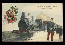 France RAILWAY Steam engine Voici de Retour Paris Quand La Fruite PPC used 1914
