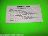 STRAT O FLITE By WILLIAMS 1974 ORIGINAL PINBALL MACHINE 2-SIDED INSTRUCTION CARD