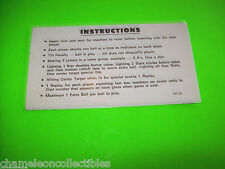 STRAT O FLITE By WILLIAMS 1974 ORIGINAL PINBALL MACHINE 2-SIDED INSTRUCTION CARD