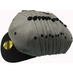 Blank Fitted Flat Bill Solid Baseball Size Caps Hats Lot of 12pcs Closeout Price