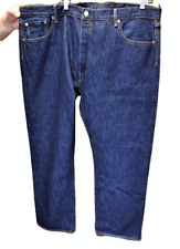Levis Mens 46X31 Tag 44X32 501 Button Fly Jeans Straight Leg Cotton Dark Wash