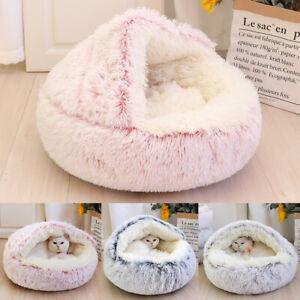 Pet Dog Cat Bed Round Plush Kitten Warm Sleeping Nest Bed Cat Igloo Cave House