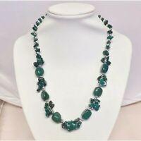"Boho Bead Necklace Vtg Gypsy Hippy Style Glass Marbled Green Bead Choker 16"""