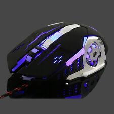 Wired LED Light 4000DPI Optical Usb Ergonomic Pro Gamer Mice Mouse Metal Plate Q