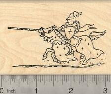 Jousting Medieval Knight Rubber Stamp, in shining armor K20923  WM