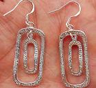 925 Sterling Silver Plate Lady Hoop Dangle Earring Jewelry Rectangle Eardrop Hot