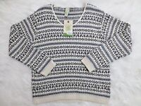 Womens Sweater Small By Green3 White Houndstooth Scoop Neck Long Sleeve NWT