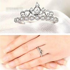 Shining Rhinestone Princess Queen Crown Ring Adjustable Wedding Jewelry