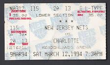New Jersey Nets vs Charlotte Hornets 1994 Unused Ticket