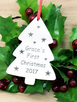 PERSONALISED BABY'S FIRST CHRISTMAS TREE DECORATION BAUBLE XMAS GIFT SILVER