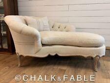 Antique French European Grain Sack Farmhouse Chaise Lounge Chair Pillow