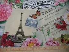 Elizabeth's Studio Fabric Spring in Paris Collage Cream Eiffel Tower