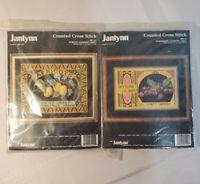Janlynn Counted Cross Stitch Kit Apricot & Raspberry Cannery Label Lot / Bundle