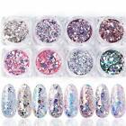 Nail Glitter Flakes 8 Boxes Pink Art Supplies Kit Sequins Acrylic Nail Powder