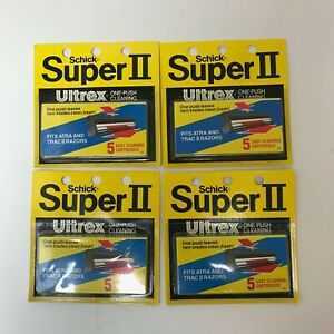 Lot of 4 NOS Schick Super II Ultrex Replacement Blades/Cartridges Atra Trac II