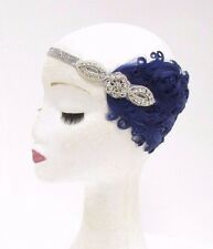 Silver Navy Blue Feather Headband 1920s Flapper Headdress Headpiece Vintage 2775