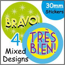 'French' Reward Stickers, Language Teacher Children Student Learning Bravo