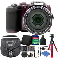 Nikon Coolpix B500 16MP Digital Camera Plum + Extra Batteries + Accessories
