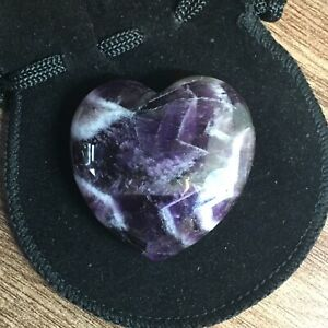 Amethyst Dog Tooth Crystal Heart - 40 x 40 x 17 mm with Free Velvet Pouch