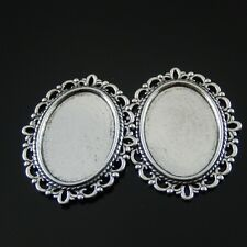 15pcs Vintage Silver Alloy Oval Lace Inner 25*18mm Cameo Setting Pendant Finding
