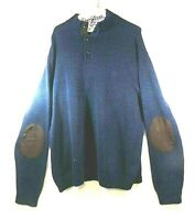 MENS DARK BLUE SWEATER CHAMPS COTTON CASHMERE SIZE XL Heavy Nice Condition !