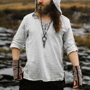 Medieval Renaissance Pirate Viking Men Hooded Shirt Tunic Tops Cosplay Costume
