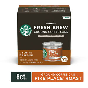 4 Box Cans Starbucks Medium Roast Fresh Brew Ground Coffee, Pike Place/ BBD 9/20
