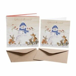Gathered All Around - 8 Gold Foiled Xmas Cards & Envelopes - Wrendale Designs