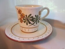 Stangl GOLDEN BLOSSOM Cup Saucer Set Hand Painted Brown Trim Gold Green Flowers