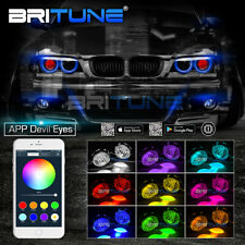 HID Bi-xenon Projectors Honeycomb Lens Headlight APP Bluetooth RGB Devil Eyes