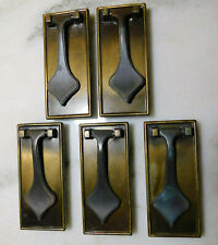 VINTAGE SET OF FIVE BRASS DOOR PULLS MCM DRAWER HANDLES