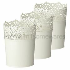 3 x IKEA SKURAR Off-White Lace Steel Plant Pots - (For 10.5cm Flowerpots)