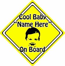 Personalised Cool Baby/Child On Board Car Sign ~ Baby Face Silhouette ~ Yellow