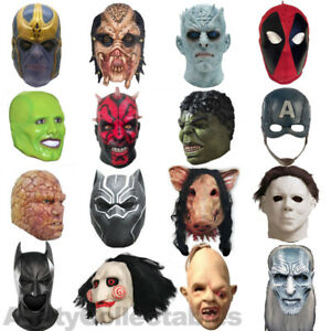 LATEX MOVIE MASK Full Head Adult Cosplay Horror Fancy Dress Halloween [CHOOSE]
