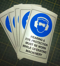 Hearing and Eye Protection - 5 Warning Stickers