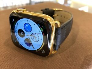 40mm Apple Watch Series 6 Custom 24K Gold Plated Stainless Steel Black Leather B