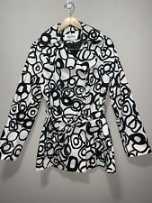 Max Mara Windbreaker Black White Belted Raincoat W/ Buttons Size Large