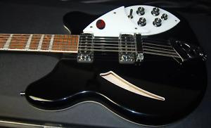 MINT Rickenbacker 360/12 Series Jet Glo Electric Guitar Original Hardshell Case