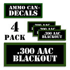 """300 AAC BLACKOUT Ammo Can LABELS STICKERS DECALS for Ammunition 3""""x1.15"""" 4 pack"""
