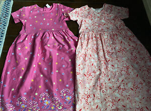 Lot Of 2 Hanna Andersson Girls Size 150 - Short Sleeve Knit Dresses