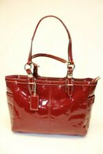Coach 1093-F15246 Large Red Signature Logo Patent Leather Shoulder Tote Bag GUC