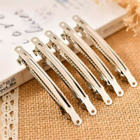 10x Silver Metal French Barrette Hair Clip Alligator Headwear Accessory DIY