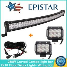 "50inch 288W Curved LED Light Bar COMBO+18W 4"" Lamp+Wiring Kit Truck 4X4WD 12V24V"