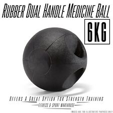 NEW Rubber Dual Grip Handle Medicine Ball 6KG Fitness Gym Exercise Balls Gear