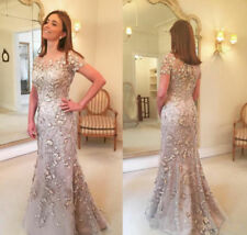 Elegant Mother Of The Bride/Groom Dresses Short Sleeve Lace Beads Evening Gowns