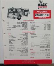1981 Mack Trucks Model CF611F (10) Diagrams Features Sales Brochure Original