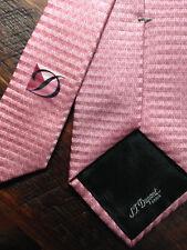 S.T.DUPONT tie Beautiful crepe silk monogram NEW 8.5cm wide