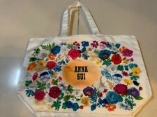 ANNA SUI white tote bag with flowers motif  NEW GWP