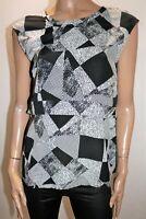 BASQUE Brand Black White Print Sleeveless Top Size 10 BNWT #RF96